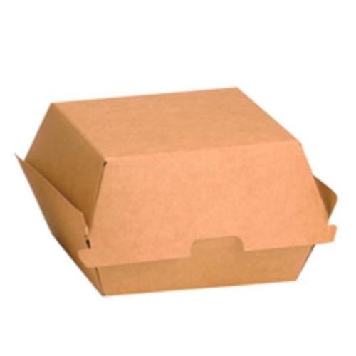"""PacknWood Paper Kraft Burger Box - 3.5"""" x 3.5"""" x 2"""" - 210EATBUK90"""