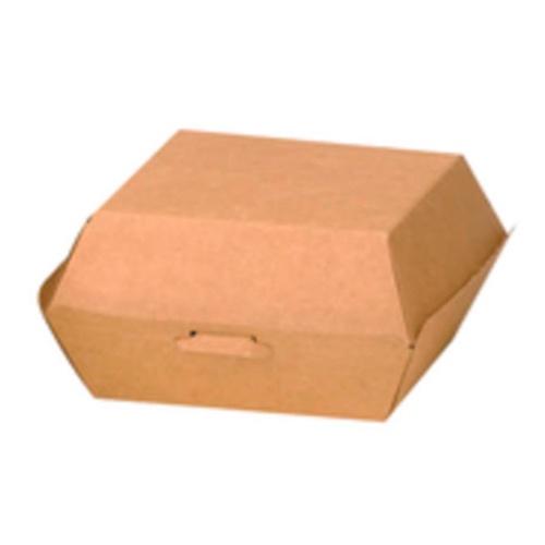 """PacknWood Paper Kraft Burger Box - 2.8"""" x 2.8"""" x 2"""" - 210EATBUK50"""