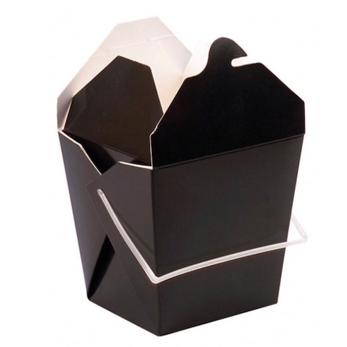 "PacknWood Paper Black Take Out Box Handle - 32 oz - 4.5"" x 3.9"" x 4.4"" - 210ASPAIL33N"