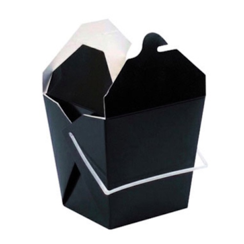 "PacknWood Paper Black Take Out Box Handle - 26 oz - 4"" x 3.6"" x 4"" - 210ASPAIL26N"