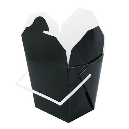 "PacknWood Paper Black Take Out Box Handle - 16 oz - 3.75"" x 1.75"" x 3.5"" - 210ASPAIL17N"
