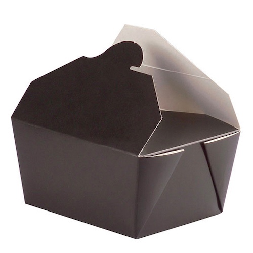 PacknWood Paper Black Meal Box - 22 oz - 210BIO2N