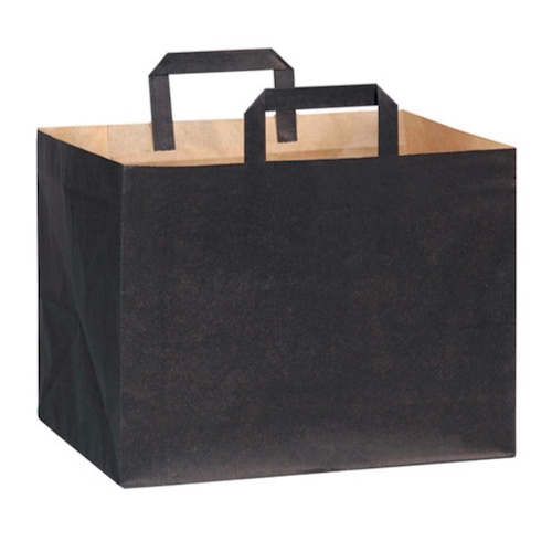 "PacknWood Paper Black Bag Handle - 12.5"" x 8.7"" x 9.65"" - 210CABTRN"