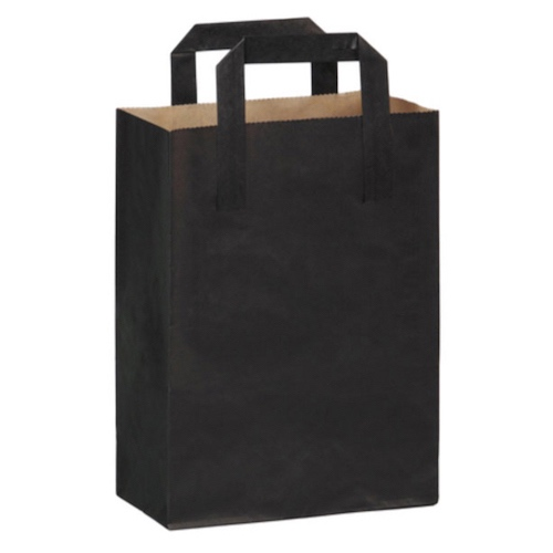 "PacknWood Paper Black Bag Handle - 7.8"" x 4"" x 11"" - 210CABABYN"