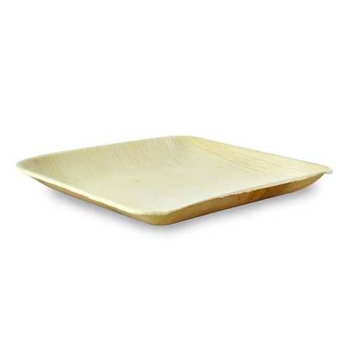 "PacknWood Palm Leaf Square Round Corner Plate - 8"" - 210BBA2020"