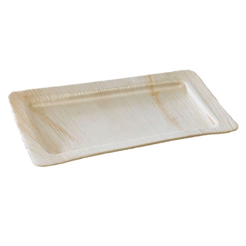 "PacknWood Palm Leaf Rectangular Plate - 9.5"" x 6.3"" - 210BBA2416"