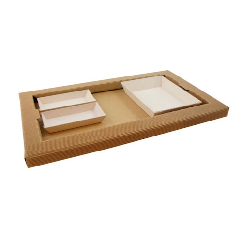 PacknWood Kraft Meal Tray and Wood Dish Set - CHOKRASAM7