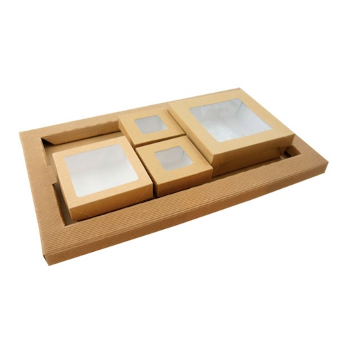 PacknWood Kraft Meal Tray and Kray Lunchbox Set - CHOKRAKRAY6