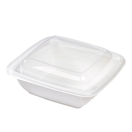 PacknWood Clear Dome Lid for Square Salad Bowl - 25 oz - 210APULSCB1000L