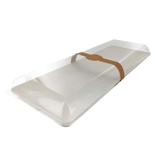"PacknWood Clear Dome Lid for Rectangular Tray - 15.7"" x 6"" - 210BCHICL4016"