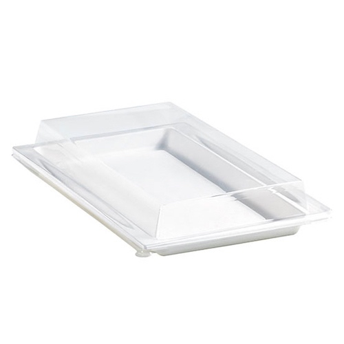 "PacknWood Clear Dome Lid for Atlas Tray - 10.9"" x 7.75"" - 210APUTRPL13"