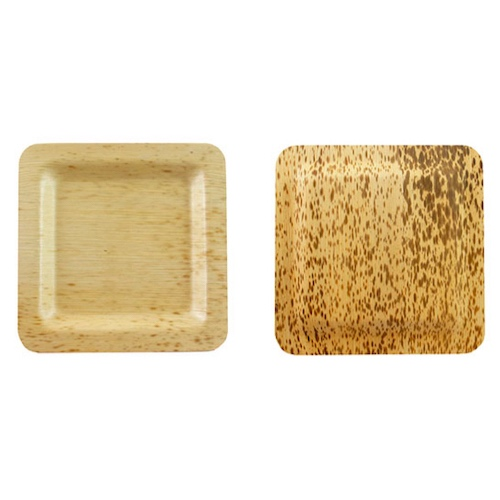 "PacknWood Bamboo Leaf Square Plate - 5.9"" - 210BBOUA15"