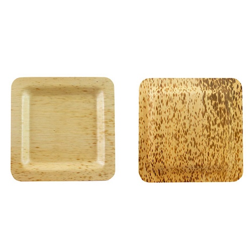 "PacknWood Bamboo Leaf Square Plate - 4.7"" - 210BBOUA12"