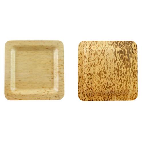 "PacknWood Bamboo Leaf Square Plate - 3.5"" - 210BBOUA9"
