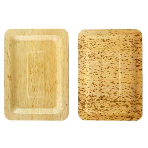"""PacknWood Bamboo Leaf Rectangular Plate - 7.9"""" x 5.5"""" - 210BBOUA20"""