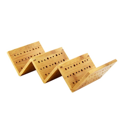 "PacknWood Bamboo 3 Taco Holder - 8.2"" x 4"" x 1.9"" - 210STAC162"