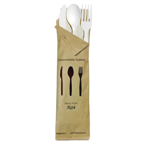 "PacknWood Bag CPLA White Cutlery Kit 4 Piece - Fork, Knife, Spoon, Napkin - 6"" - 210CVPLK416W"