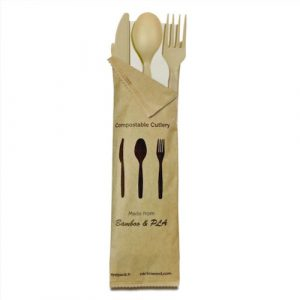 PacknWood Bag CPLA Beige Cutlery Kit 4 Piece - Fork, Knife, Spoon, Napkin - 6