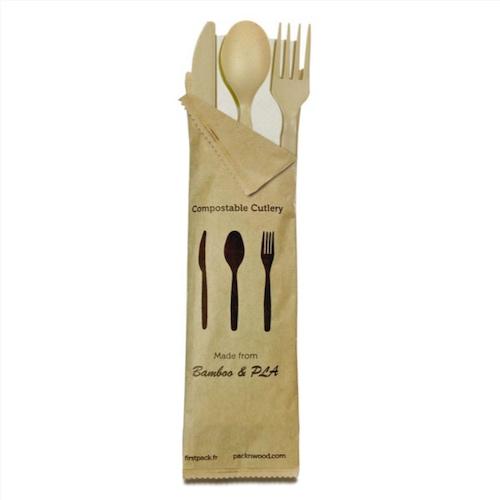 "PacknWood Bag CPLA Beige Cutlery Kit 4 Piece - Fork, Knife, Spoon, Napkin - 6"" - 210CVPLK416BB"