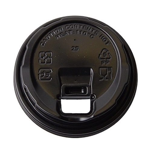 Conserveware PP Black Flat Lid for Hot Cup - 8 oz - 42HCLPP80