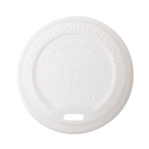 Conserveware CPLA White Flat Lid for Hot Cup - 10-20 oz - 42HCLPLA90