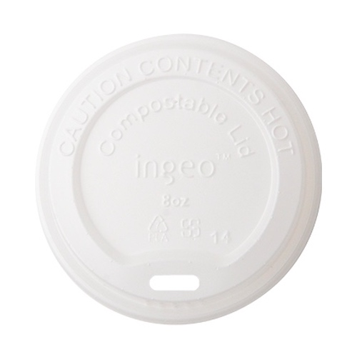 Conserveware CPLA White Flat Lid for Hot Cup - 8 oz - 42HCLPLA80