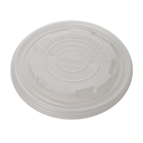 Conserveware CPLA White Flat Lid for Round Container - 12-32 oz - 42FCLPLA115