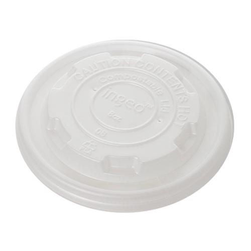 Conserveware CPLA White Flat Lid for Round Container - 8 oz - 42FCLPLA90