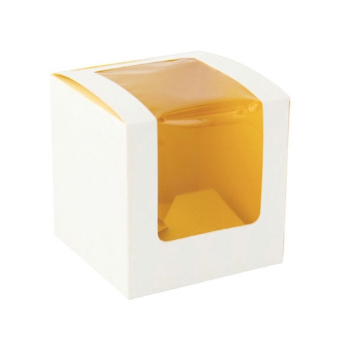 "PacknWood Paper Yellow Window 1 Cupcake Box - 3.3"" x 3.3"" x 3.3"" - 209BCKF1"