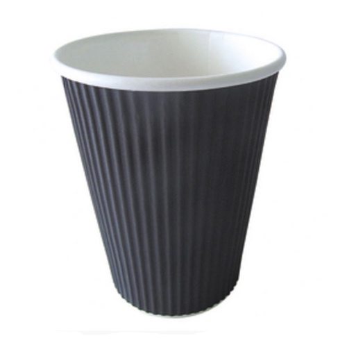 PacknWood Paper Black Ripplay Cup - 12 oz - 210GCR12N