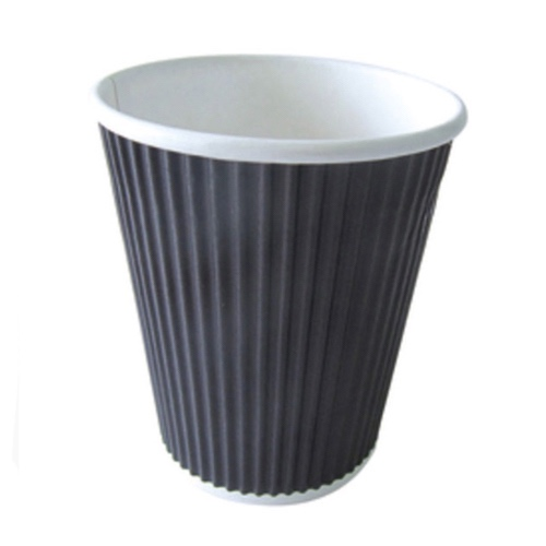PacknWood Paper Black Ripplay Cup - 8 oz - 210GCR8N