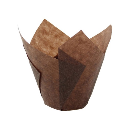 PacknWood Paper Dark Brown Silicone Tulip Baking Cup - 1 oz - 209CPST1CH