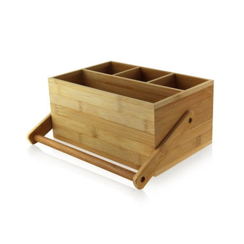 "PacknWood Bamboo Cutlery Napkin Box Handle - 9"" x 5.8"" x 4.2"" - 210BTOOL1"