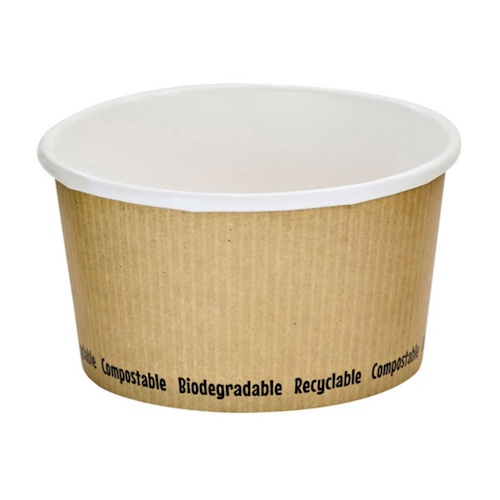 "PacknWood Paper Kraft Soup Cup - 12 oz - 4.5"" - 210PLAS12"