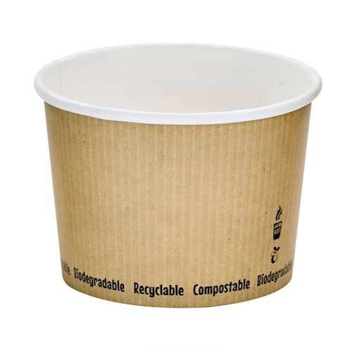 "PacknWood Paper Kraft Soup Cup - 16 oz - 4.5"" - 210PLAS16"