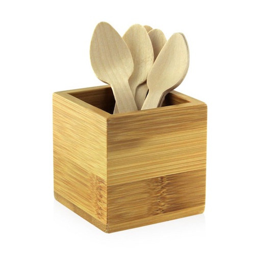 "PacknWood Bamboo Mini Cutlery Holder - 2.5"" x 2.5"" x 2.5"" - 210BMH1"