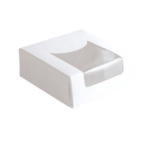 "PacknWood Paper White Window Pastry Box - 3.9"" x 3.9"" x 1.6"" - 209PAT100J"