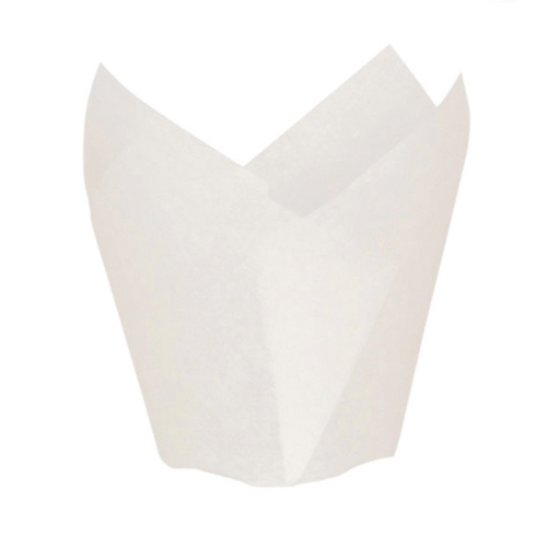 "PacknWood Paper White Silicone Tulip Baking Cup - 1.25 oz - 1.1"" - 209CPST1B"