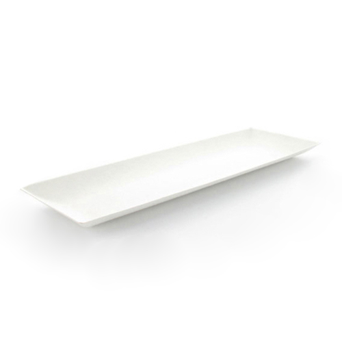 "PacknWood Sugarcane Rectangular Plate - 3.5"" x 10.6"" - 210BCHIC279"