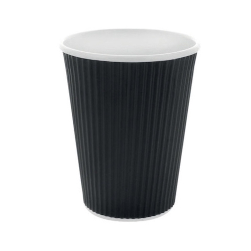 PacknWood Paper Black Ripplay Cup - 10 oz - 210GCR10N