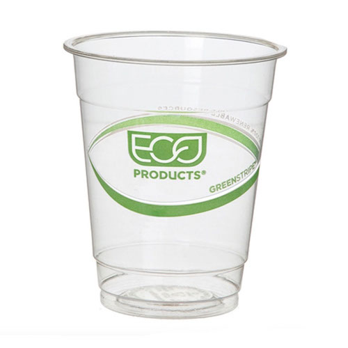 Eco-Products PLA Green Stripe Cold Cup - 7 oz - EP-CC7-GS