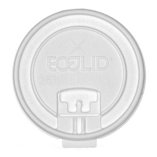 Eco-Products RPS Translucent Locking Tab Straw Slot Lid for Hot Cup - 10-20 oz - EP-HCLDT-R