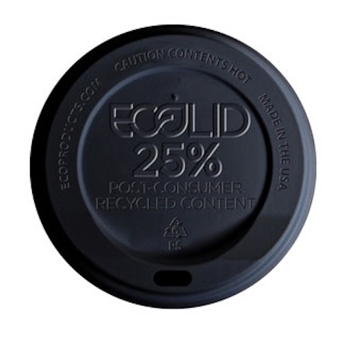 Eco-Products RPS Black Flat Lid for Hot Cup - 10-20 oz - EP-HL16-BR