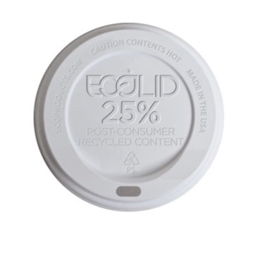 Eco-Products RPS White Flat Lid for Hot Cup - 10-20 oz - EP-HL16-WR
