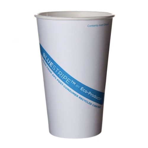 Eco-Products PCF Blue Stripe Hot Cup - 16 oz - EP-BRHC16-BSLE01