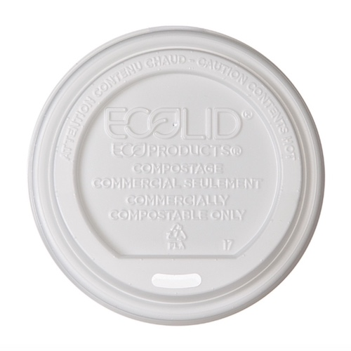 Eco-Products PLA White Flat Lid for Hot Cup - 10-20 oz - EP-ECOLID-W
