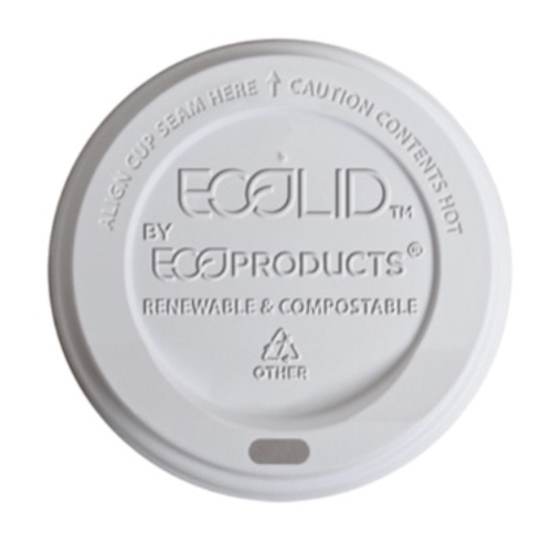 Eco-Products PLA White Flat Lid for Insulated Hot Cup - 20 oz - EP-ECOLID-N20