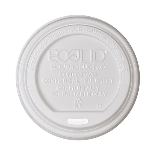 Eco-Products PLA White Flat Lid for Hot Cup - 8 oz - EP-ECOLID-8