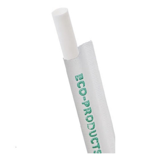 """Eco-Products PLA White Straw Wrapped - 7.75"""" - EP-ST770-WHT"""
