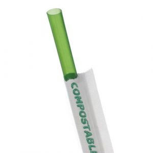 Eco-Products PLA Green Straw Wrapped - 7.75